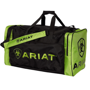 Ariat Junior Gear Bag Black with Lime Green Heavy duty poly fabric. Shoulder carry strap. Heavy duty zippered end pockets.