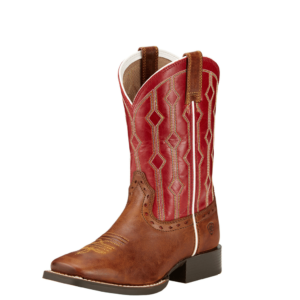 Kids square toe ariat boots brown with mega red top