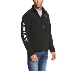 Mens ariat team softshell jacket in black with ariat down right arm