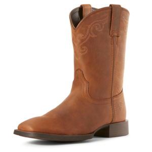 Ariat Heritage Roper distressed brown wide square toe boot