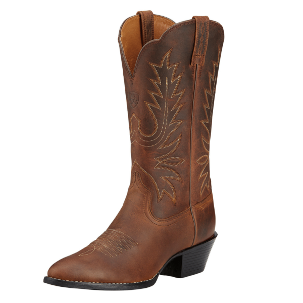 Ariat leather cowgirl boot, western style distressed brown