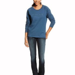 Ariat Womens Real Logo Crew - Ensign Blue