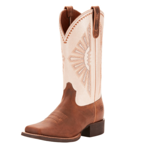 Womens Ariat Round Up Rio, Distressed Brown foot and stone colour upper with stitching detail