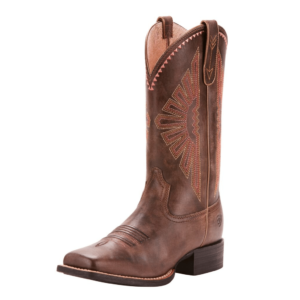 Womens Ariat Round Up Rio Wide square toe western syle boots in naturally distressed brown