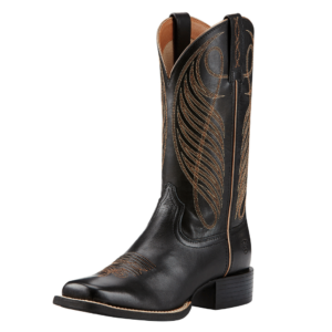 Ariat Womens Round Up wide square toe black western style boot