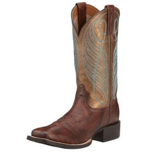 Womens Ariat Round Up Wide Square Toe boots in Yukon Brown