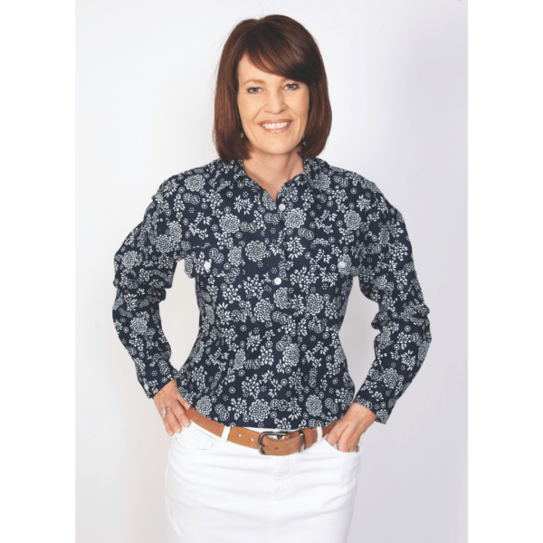 Georgie Printed Womens shirt, navy with white print