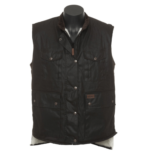 Outback Oilskin Fleece lined Vest Two domed chest pockets Dual entry front pockets Domed storm flap over zip closure Longer tail at back