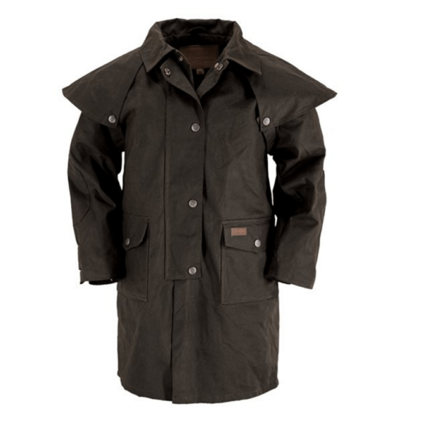 Outback Kids Oilskin coat Cotton twill lining Detachable cape Rear saddle gusset and leg straps Inside elbow patches Deep Collar w/throat latch Double domed front opening with adjustable drawstring waist