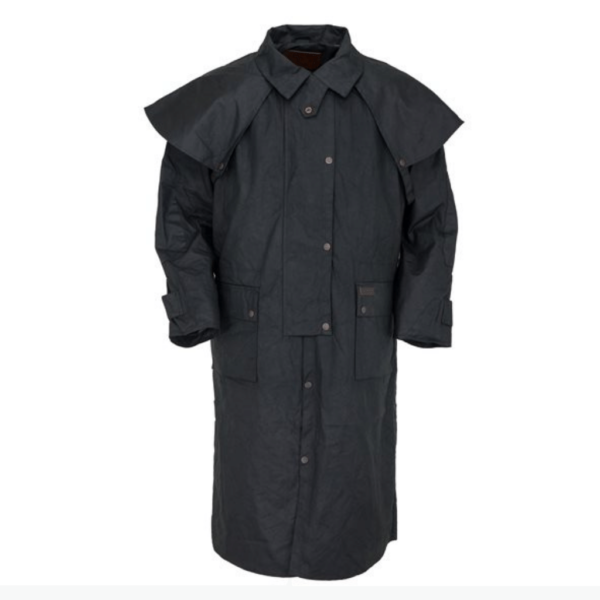 Oilskin Riding Coat Cotton twill lined Poly Taffeta lined sleeves, Detachable cape Rear saddle gusset Leg straps Elbow Patches Adjustable drawstring waist, Collar with adjustable throat latch Double domed front opening