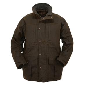 Outback Oilskin Jacked lined Two large zipped chest pockets and inside chest pocket Draw string Waist Side Vents