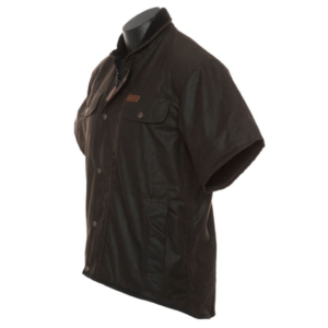 Outback Oilskin fleece lined vest side view Domed storm flap over zip closure Zippered inside pocket Two domed Chest pockets Fleece lined side hand warmer pockets Extended shoulder length Longer tail at back
