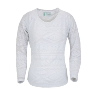 Outback womens white Aztec patterned long sleeve top