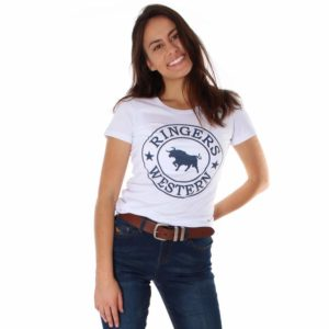 Ringers Western Womens Curl Curl Tee Front View of White with Navy Print