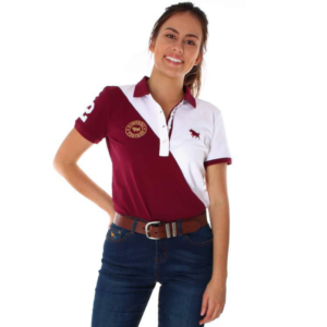 Ringers Western womens spliced polo burgundy with white splice