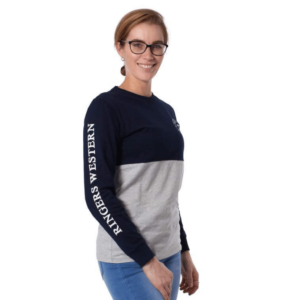 RIngers western womens long sleeve tee branding down the arm