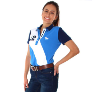 RIngers Western Womens spliced polo blue with white stripe