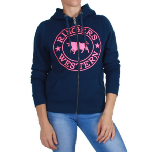 Ringers western full zip womens hoodie, navy with pink logo on the front with kangaroo style pockets