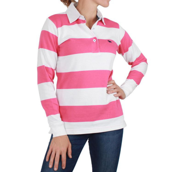 Ringers Wetsern Womens Rugby top White and Melon stripe