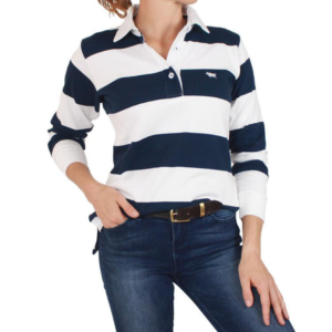 Ringers Western womens rugby top navy and white stirpe