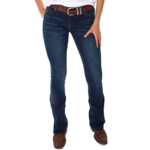 Ringers western womens megan low rise boot cut jeans in classic blue