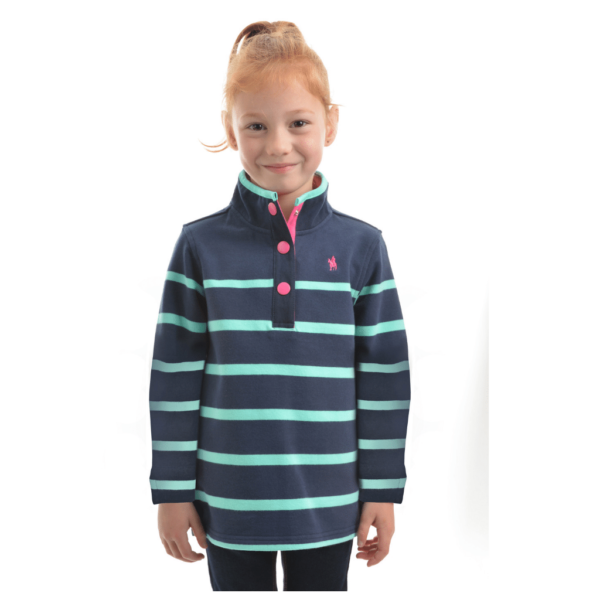 Thomas Cook Camilla Stripe Rugby Mint and Navy Blue Stripe