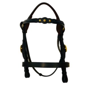 Top Rail Equine Leather Show Bridle Brown with Brass fittings and a navy blue plait in brow band