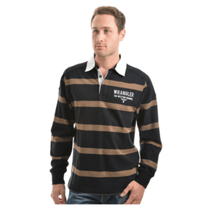Mens Rugby Jumper black and tan stripe