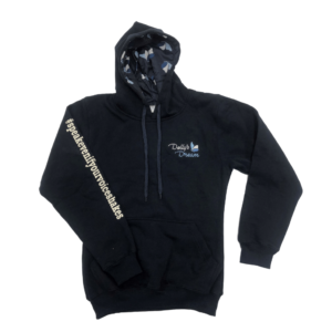 Dollys Dream Womens Hoodie Front Navy blue, showing hashtag down right arm, logo on the front and butterfly print in hood