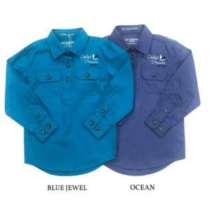 Dolly's Dream Kids Girls Kenzie Half Button, Long Sleeve Workshirt Blue Jewel Pictured on the left Ocean Pictured on the Right