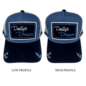 Dolly's Dream Limited Edition Trucker Caps, Logo on Patch, Low profile cap on Left, High Profile Cap on Right.
