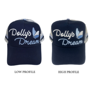 Dollys Dream Trucker Cap Low Profile on the left and High Profile on the right