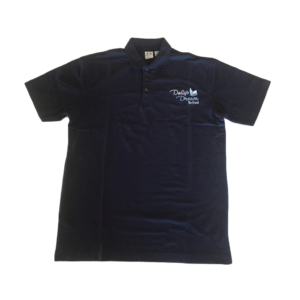 Dolly's Dream Polo Unisex Navy with logo on the front