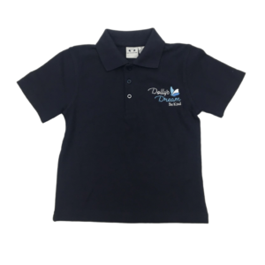 Dollys Dream Kids Polo Top Navy with the logo on the front