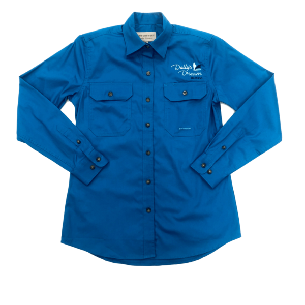 Dollys Dream Workshirt Womens Full Button Brooke, Front of shirt showing logo above pocket