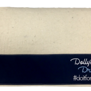 Dollys Dream Wool felt saddle pad, White felt with Navy cavas wear patches on the sides and over the wither for better wear. Logo on near side