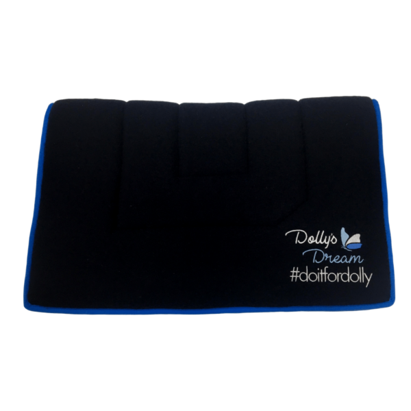 Dolly's Dream wool stock saddle cloth, rectangle shape, Dolly's Dream Logo near side back corner, navy wool with blue binding