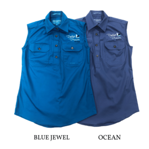 Dollys Dream Womens Sleeveless workshirts half button pictures in the Blue Jewel on the left and Ocean on the right