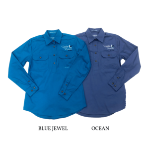 Dollys Dream womens Jahna half button long sleeve workshirt, blue jewel on the left and ocean on the right