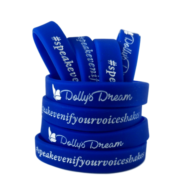 Dolly's Dream Wristbands Blue with white writing