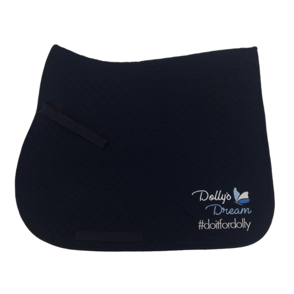 Dolly's Dream Quilted All Purpose Saddle Cloth, Navy with embroidery on near side. Shaped wither