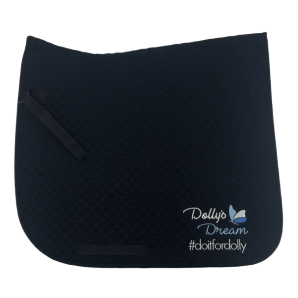 Dolly's Dream Quilted Dressage Saddle Cloth, near side view with logo embroidered available in pony and full