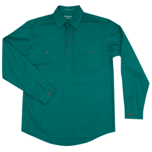 Mens half button long sleeve workshirt