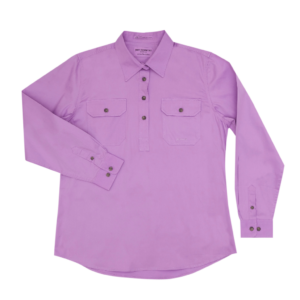Womens long sleeve half button work shirt