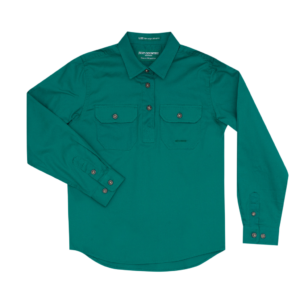 Half Button, Long Sleeve Dark Green