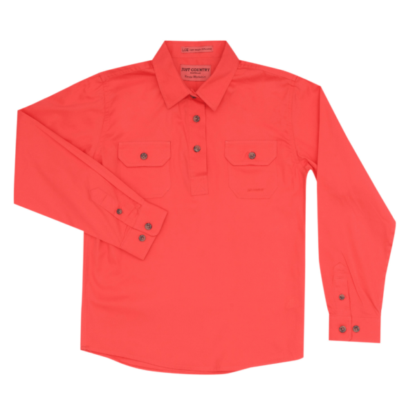 Half Button, Long Sleeve Hot Coral