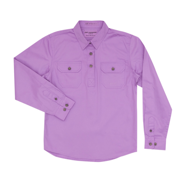 Girls Long Sleeve half button work shirt Orchid Lilac Purple