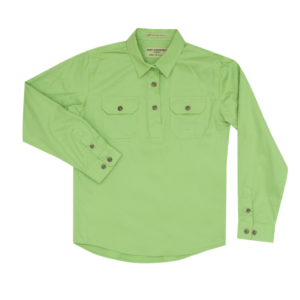 Girls Long Sleeve half button work shirt Lime Green