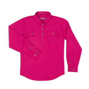Girls Half Button, Long Sleeve workshirt Magenta