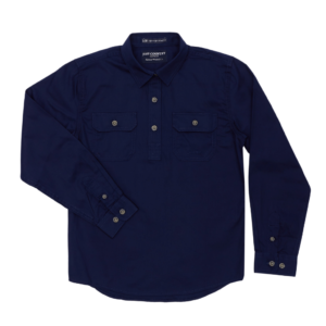 Girls Long Sleeve half button work shirt Navy